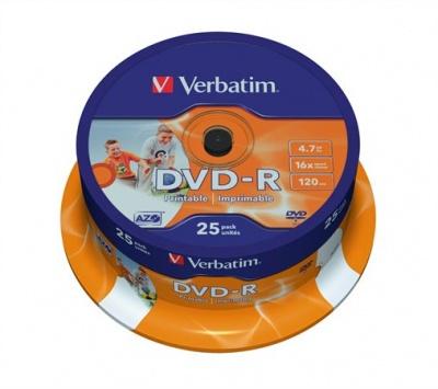 "DVD-R 4,7 GB, 16x, široko popisovateľné, matné, ""ID"", cake box"