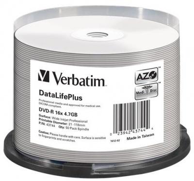 """DVD-R 4,7 GB, 16x, široko potlačiteľné, matné, """"no-ID"""", cake box"""