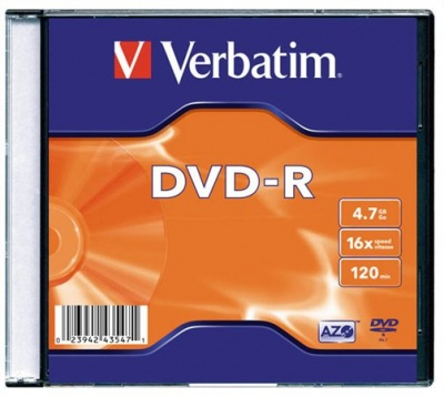 DVD-R 4,7 GB, 16x, tenký obal (AZO)
