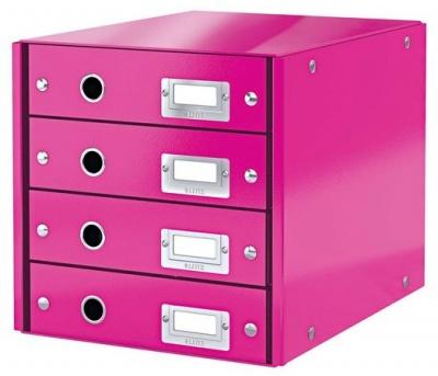 """Box na dokumenty, laminovaný kartón, 4 zásuvky, LEITZ """"Click&Store"""", ružový"""