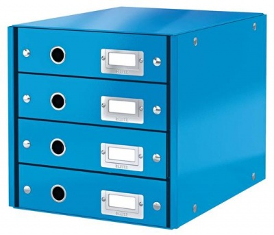"""Box na dokumenty, laminovaný kartón, 4 zásuvky, LEITZ """"Click&Store"""", modrý"""