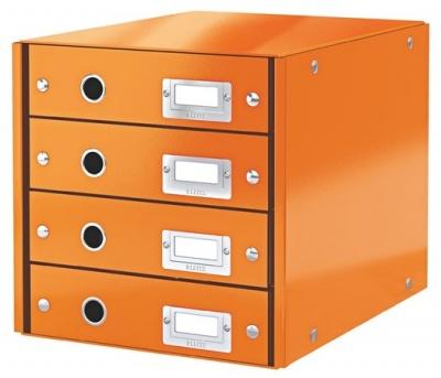 """Box na dokumenty, laminovaný kartón, 4 zásuvky, LEITZ """"Click&Store"""", oranžový"""
