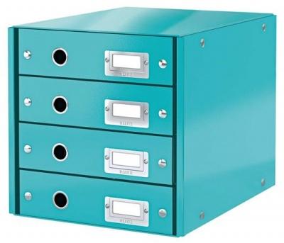 """Box na dokumenty, laminovaný kartón, 4 zásuvky, LEITZ """"Click&Store"""", ľadovo modrý"""