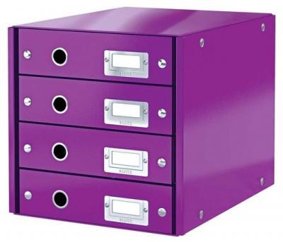 """Box na dokumenty, laminovaný kartón, 4 zásuvky, LEITZ """"Click&Store"""", fialový"""