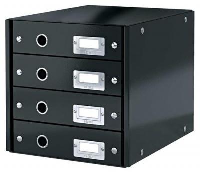 """Box na dokumenty, laminovaný kartón, 4 zásuvky, LEITZ """"Click&Store"""", čierny"""