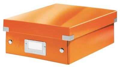 """Odkladací box, organizačný, PP, kartón, veľkosť:S, LEITZ """"Click&Store"""", oranžový"""