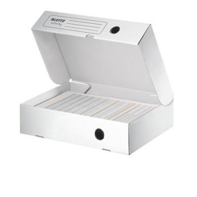"""Archívny box, A4, 80 mm, recyklovaný kartón, otváranie smerom nahor, LEITZ """"Infinity"""", biely"""