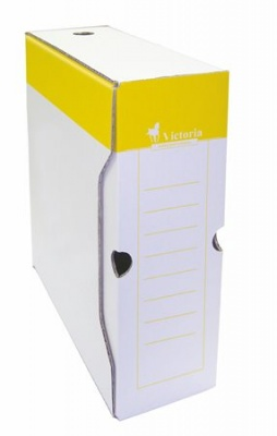 Archívny box, A4, 100 mm, kartón, VICTORIA, žltý-biely