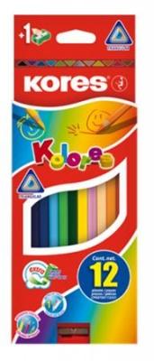 """Farebné ceruzky, šesťhranné, KORES """"Hexagonal"""", 12 rôznych farieb"""