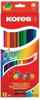 """Farebné ceruzky, s 2 hrotmi, trojuholníkový tvar, KORES """"Duo"""", 12 rôznych farieb"""