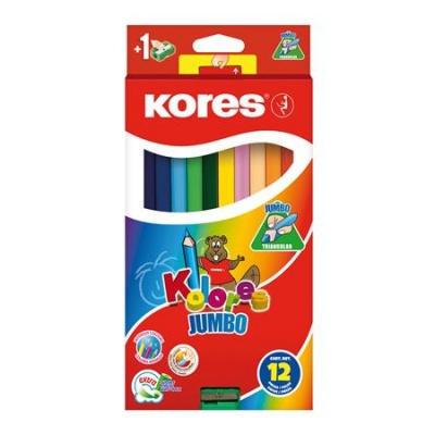 """Farebné ceruzky, trojuholníkový tvar, hrubé, KORES """"Jumbo"""", 12 rôznych farieb"""