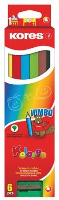"""Farebné ceruzky, trojuholníkový tvar, hrubé, KORES """"Jumbo"""", 6 rôznych farieb"""