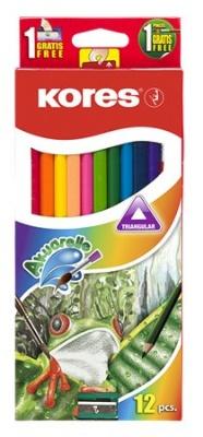 Akvarelové ceruzky, so strúhadlom a štetcom, KORES, 12 rôznych farieb
