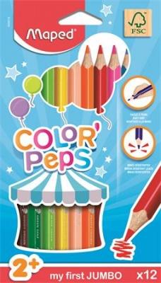 """Farebné ceruzky, trojuholníkový tvar, hrubé, MAPED """"Color`Peps Maxi"""", 12 rôznych farieb"""