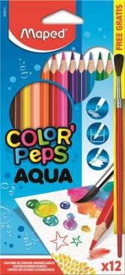 """Akvarelové ceruzky, trojuholníkový tvar, so štetcom, MAPED """"Color Peps"""", 12 rôznych farieb"""