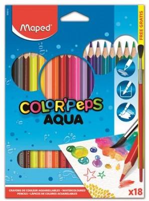 """Akvarelové ceruzky, trojuholníkový tvar, so štetcom, MAPED """"Color Peps"""", 18 rôznych farieb"""