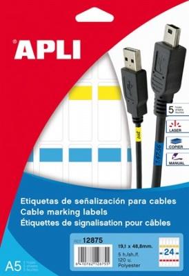 Etikety 19,1x48,8 mm, polyestrové, na označenie káblov, na liste formátu A5, APLI, 120 etikiet/bal