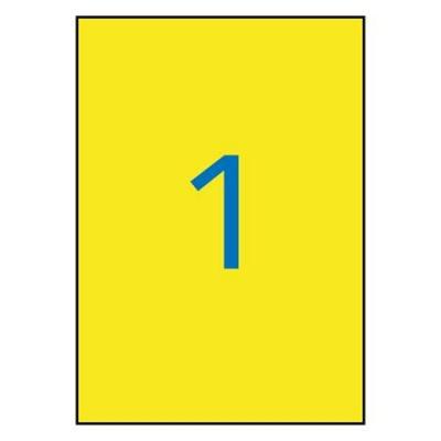 Etiketa, 210x297 mm, polyester, odolné voči poveternostným podmienkam, APLI, žlté, 20 etikiet/bal