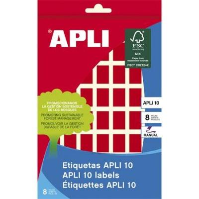 Etikety, 12x18 mm, ručne popisovateľné, farebné, APLI, červené, 448 etikiet/bal