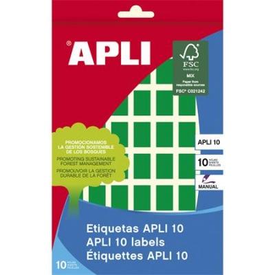 Etikety, 12x18 mm, ručne popisovateľné, farebné, APLI, zelené, 448 etikiet/bal