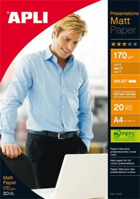 """Foto papier, k atramentovým tlačiarňam, A4, 170 g, matný, obojstranný, APLI """"Presentations"""