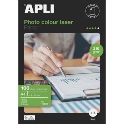 """Foto papier, do laserových tlačiarní, A4, 210 g, lesklý, obojstranný, APLI """"Premium Laser"""""""