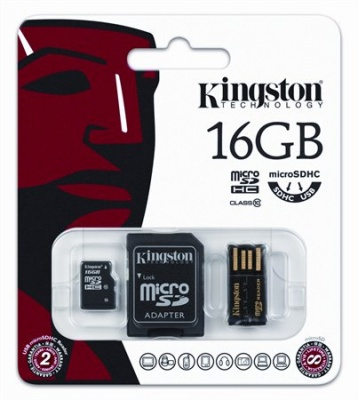 Memóriakártya, Micro SDHC, 16GB, Class 10, SD+USB adapterrel, KINGSTON