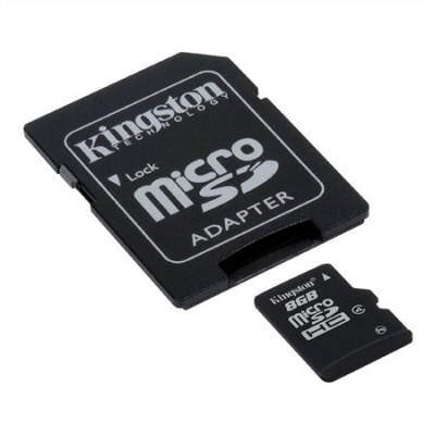 Memóriakártya, Micro SDHC, 8GB, Class 4, adapterrel, KINGSTON
