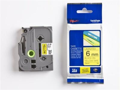 6 mm páska, žltý základ/čierne písmenká