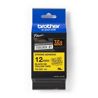 12 mm páska, žltý základ/čierne písmenká