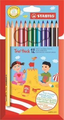 """Farebné ceruzky, trojuholníkový tvar, hrubé, STABILO """"Trio"""", 12 farieb"""