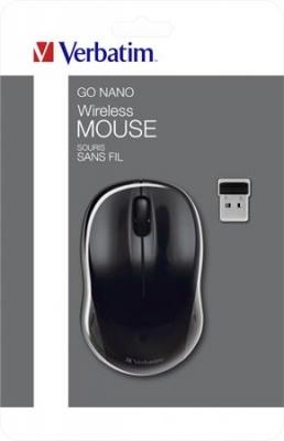 """Myš, bezdrôtová, optická, stredná veľkosť, USB, VERBATIM """"Go"""", čierna"""