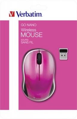 """Myš, bezdrôtová, optická, stredná veľkosť, USB, VERBATIM """"Go"""", cyklámenová"""