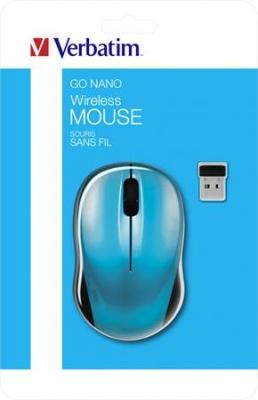 """Myš, bezdrôtová, optická, stredná veľkosť, USB, VERBATIM """"Go"""", modrá"""