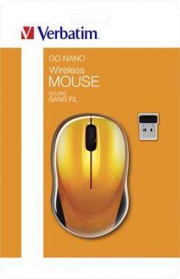 """Myš, bezdrôtová, optická, sttredná veľkosť, USB, VERBATIM """"Go"""", hnedá"""